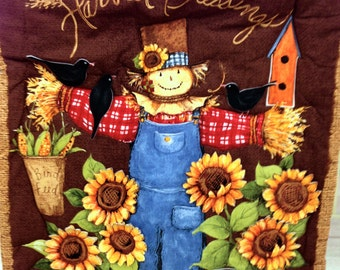 "Thanksgiving quilted ""Harvest Blessings"" wall hanging in colorful designer cotton"