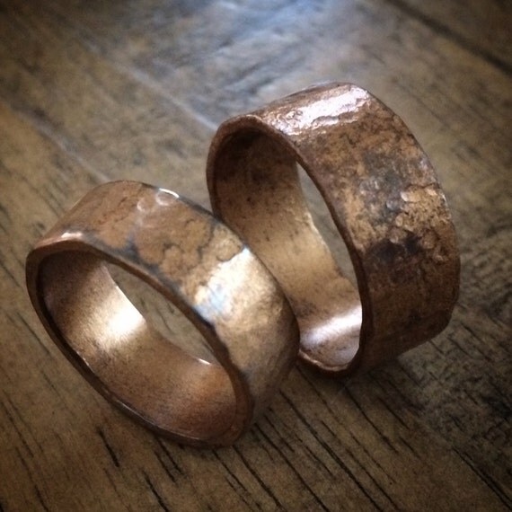 Personalized Bronze Wedding Band Set His By MistyMountainForge