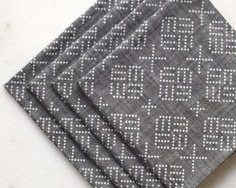 Geo Dots Chambray Napkin- Set of Four - Gray