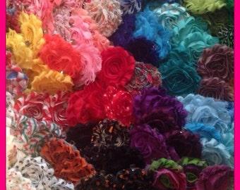 Grab Bag Shabby Flowers/ Shabby Chic- 45 flower tops- mixed lot