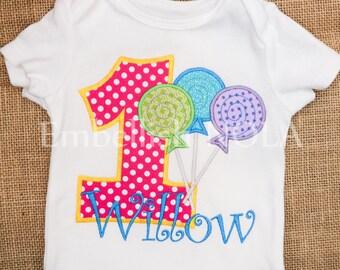 Lollipop Candy Appliqued Birthday Shirt, Candyland Sugar Shop Theme