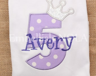 Princess Sofia Inspired Glitter Crown Number Appliqued Birthday Shirt