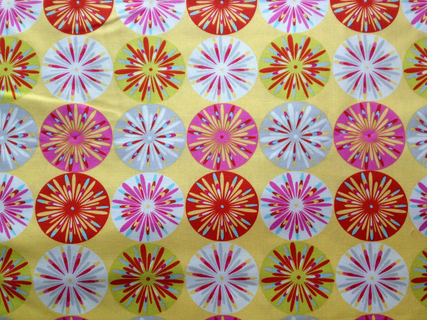 Kumari garden cotton fabric metre fat quarter yellow sunburst for Kumari garden fabric by dena designs