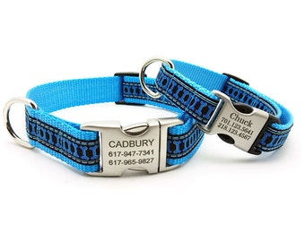 Illusion Bones Dog Collar with Laser Engraved Personalized Buckle
