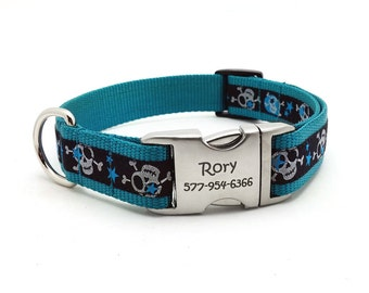 Stars and Skulls Dog Collar with Laser Engraved Personalized Buckle - TEAL