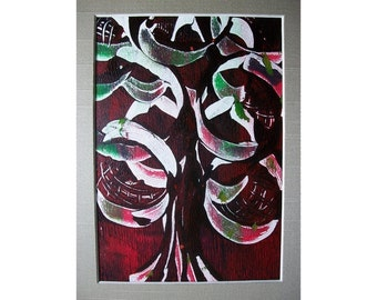 Fall Tree 1 Original Monoprint Abstract Acrylic Painting 5x7 Red Green White Dark