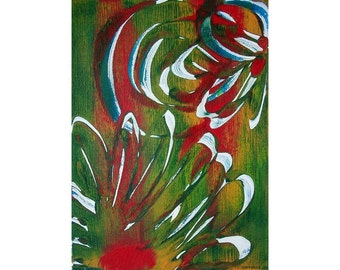 Flowers 2 Original Monoprint Abstract Acrylic Painting 5x7 Green Red White Yellow