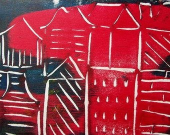 Little Boxes on the Hillside 2/2 Original Monoprint Contemporary Abstract Acrylic Painting 5x7 White Red Dark Blue Cityscape Houses Night