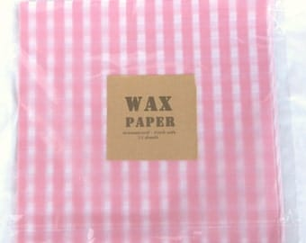 50 Pink Gingham WAX PAPER sheets-Pink Lemonade party shop EXCLUSIVE-basket liners-food safe