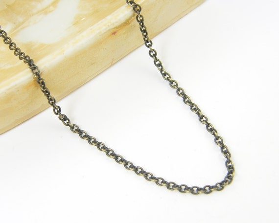 Brass Chain Necklace 30 Inch Small Link Cable Chain  CH2-AB30