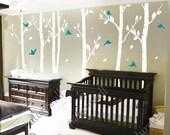 white birch Tree Decals nursery decals Kids wall decals baby decal  room decor wall decor wall art birch decals-birds in Birch forest 100in