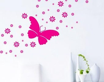 Butterfly and flowers  vinyl wall decal wall sticker  art