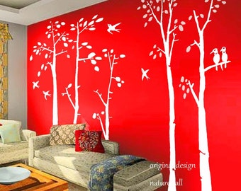 Vinyl Wall Decal  white tree decals wall stickers birch tree - birds in birch forest -set of 5 birch trees-Large