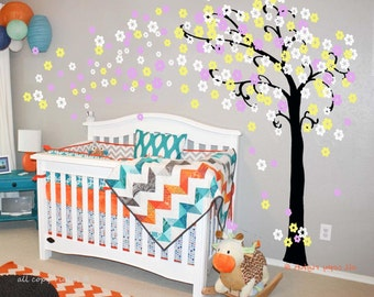 Baby Nursery decals Cherry blossom wall decal  tree decal baby  kids room decor  girl wall decor white pink flower- Trailing Cherry Blossom