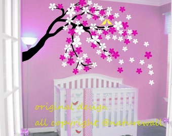 wall decals cherry blossom  tree decals baby nursery decal flower decal  kids room decor  white nature  -cherry blossom tree