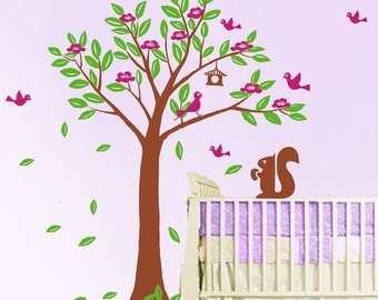 wall decals flower tree decals baby nursery kids room decor  nature wall decor wall art- flower Tree with birds and squirrels