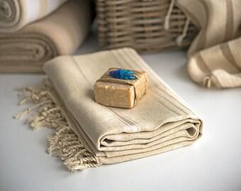 Natural Linen Turkish Towel, Peshtemal - Light Brown - Beige
