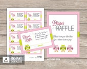 Owl Diaper Raffle Tickets and Sign - Owl Baby Shower - Pink and Green - INSTANT DOWNLOAD - Printable PDF