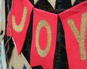 JOY gold glitter on felt banner