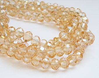 Champagne faceted glass rondelle beads 8x6mm full strand PEGLA-71-3