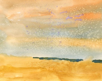 semi-abstract landscape watercolour painting of a beach