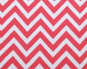 Coral Pink Chevron Blizzard Fleece Fabric, By The Yard