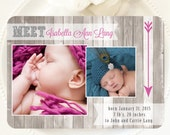 Printable Baby Announcement - Barn Wood Arrows for a Girl or Boy