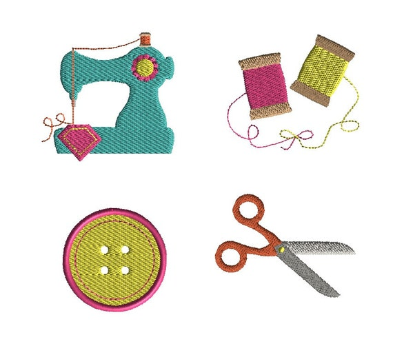 Mini sewing set machine embroidery design instant download