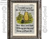 Winnie the Pooh Not Feeling Like Pooh Quote 65 There There said Piglet on Vintage Upcycled Dictionary Art Print Book Art Print Classic