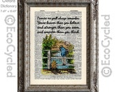 Winnie the Pooh, Piglet & Christopher Robin Quote 7 Braver Stronger Smarter on Vintage Upcycled Dictionary Art Print Book Art Print