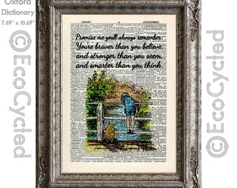 Winnie the Pooh Piglet & Christopher Robin Quote 7 Braver Stronger Smarter on Vintage Upcycled Dictionary Art Print Book Art Print Nursery