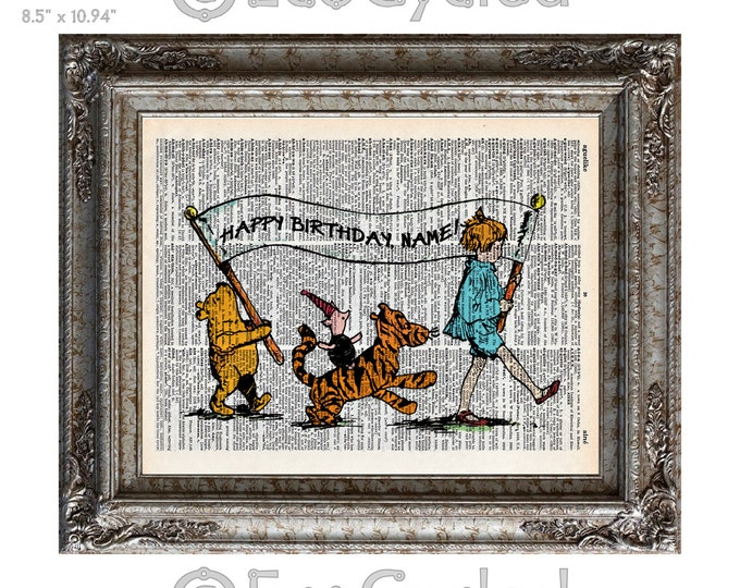 Winnie the Pooh Personalized Happy Birthday on Vintage Upcycled Dictionary Art Print Book Art Print Piglet Tigger Christopher Robin Custom