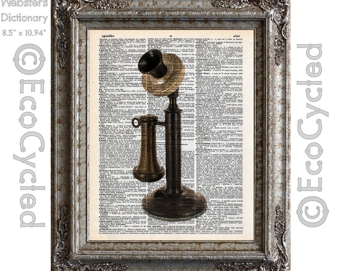 Antique Upright Candlestick Telephone on Vintage Upcycled Dictionary Art Print Book Art Print Recycled Repurposed Phone bookworm gift