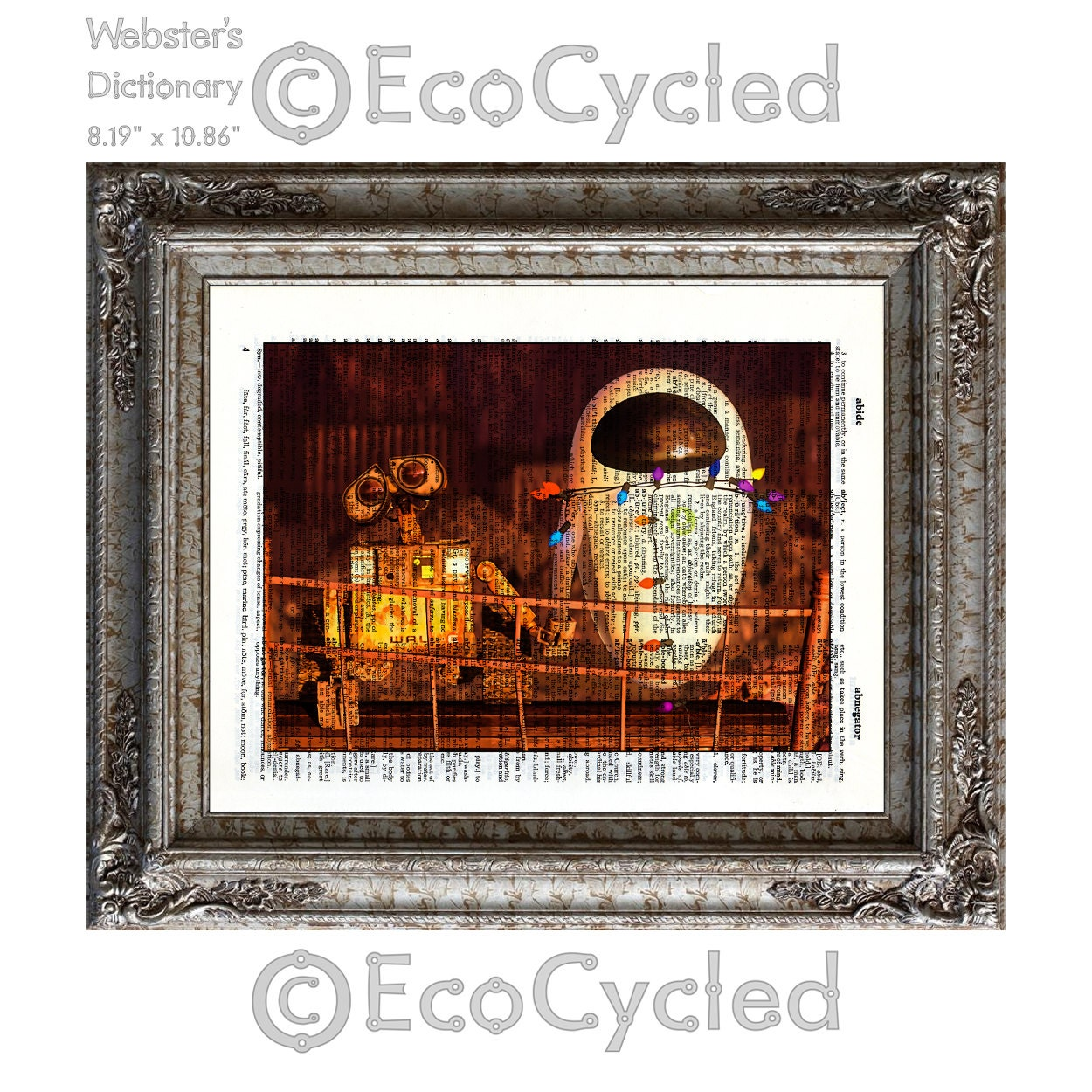 Wall-E & Eve 5 with Christmas Lights on Vintage Upcycled
