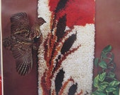 1970s rug making kit earthtones cattails new in box 14 inches by 33 inches aronelle made in canada