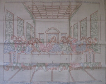vintage last supper stamped linen embroidery colortex process 22 by 18 inches
