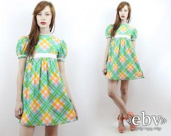 Vintage 70s Green Plaid Babydoll Mini Dress XXS Vintage Plaid Dress Babydoll Dress Lolita Dress Dolly Dress Hippie Dress Rainbow Dress