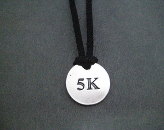 DISTANCE Runner Round Pendant Self Tie Necklace - Pewter Charm on 3 Feet of Self Tie Micro Fiber Suede - Choose 5k, 10k, 13.1 or 26.2 Unisex