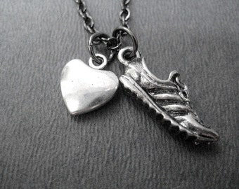 HEART and SOLE Pewter Charms - Love to Run Puffed Heart Necklace - Running Necklace on Gunmetal Chain - Runner Jewelry - Love to Run - Run