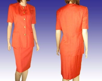 80s CHRISTIAN DIOR Sophisticated Skirt Suit in Tangerine Bust 38 Beautiful Buttons A++