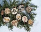 Wood Burned Ornaments | ASPEN Wood Slice Ornaments | FOX | MOOSE