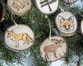FOX | Wood Burned | ASPEN Wood Slice Ornaments