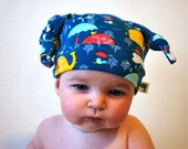 Blue elephant baby hat cute raincloud umbrella kids beanie jersey fabric childrens toddler knotted top slouch hat cute newborn photo prop