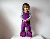 Overalls purple childrens SAVE 15 corduroy dungarees plum girls boys baby retro colorful colour kids cords flares spring hippie clothes
