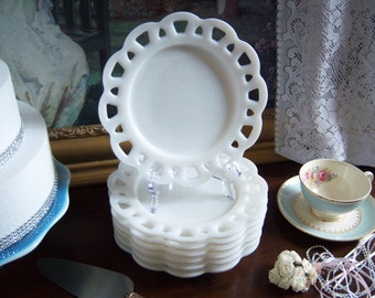 White Milk Glass Lace Edge Plates - Milk Glass Plates - Wedding Milk Glass - Vintage Wedding - Lace Edge Milk Glass Plates - Milk Glass