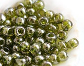 TOHO Seed beads, size 6/0, Gold-Lustered Green Tea, N 457, round, japanese glass - 6g - S410
