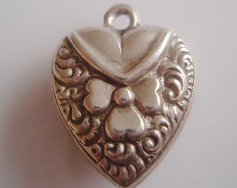 Vintage Silver Puffy Repousse Heart Charm