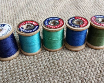Vintage Wooden Spools of Thread Blue Green Teal Turquoise LOT