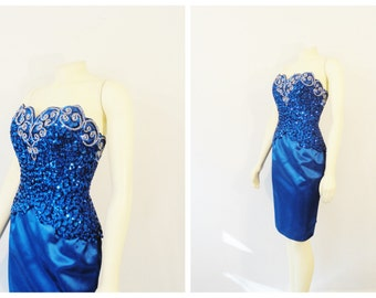 Vintage Dress 60s Mark Benet Royal Blue Sequin Beaded Satin Sweetheart Neckline Blue Satin Dress Deadstock NWT