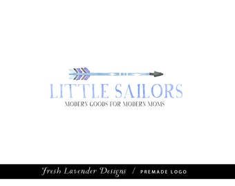 Custom Logo Design Premade Logo with Watermark for Photographers and Small Businesses  Hand Drawn Arrow with Watercolor and Handwritten Font